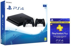 ¡GAMER! Nueva PS4 Slim 1TB + 2 mandos + Plus por 299€