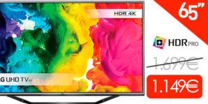 AMAZON BLACK! Smart TV LG 65UH625V UHD 4K de 65″ por 1.149 Euros