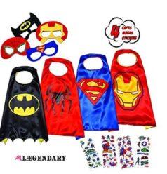 OFERTACARNAVAL! Disfraces de Superheroes 4 Capas y Mascaras por 18.99€