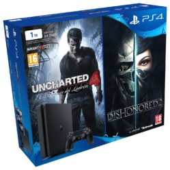 PlayStation 4 Slim 1TB + Uncharted 4 + Dishonored 2 por 309€
