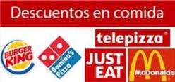 Descuentos en Just Eat, Mcdonalds, Burger king, Telepizza, KFC , Domino´s etc..