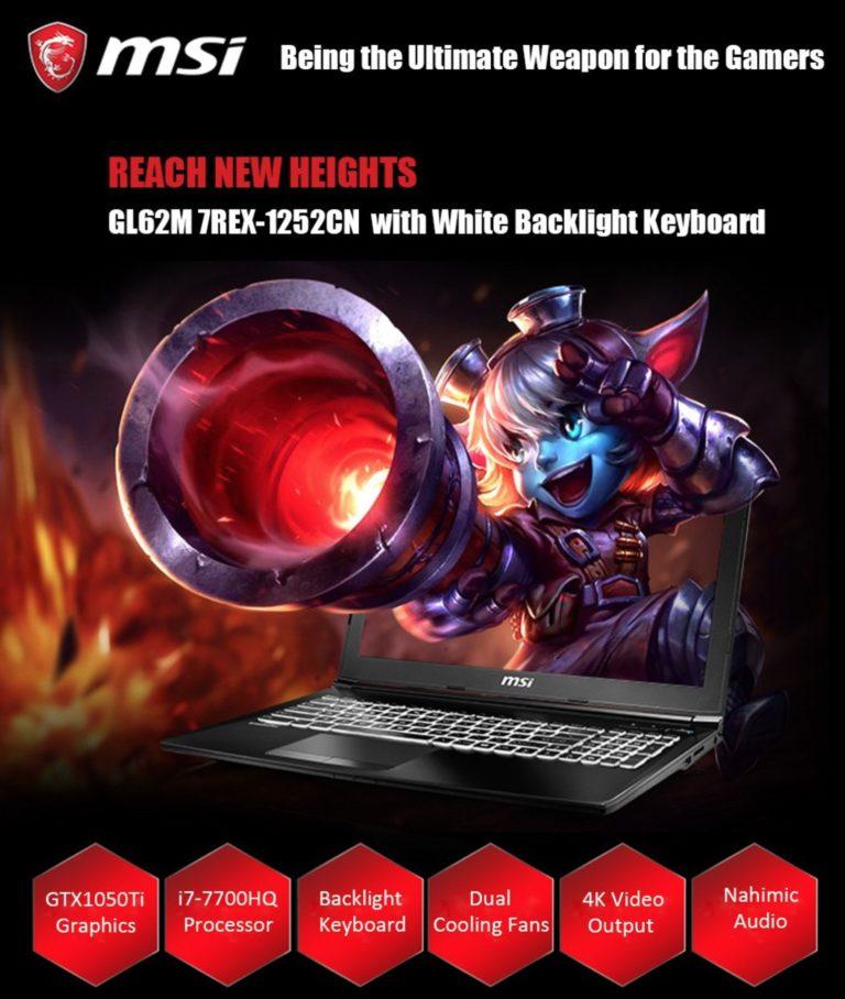Oferta! Ultra portatil MSI GL62M I7-7700HQ 1TB HD + SSD GTX 1050 ti 4GB por 616€