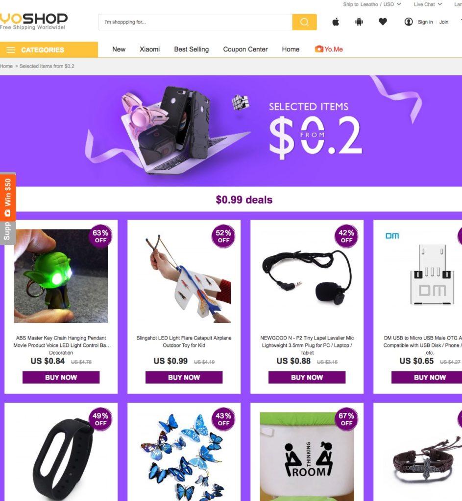 Preciazos! Promocion Yoshop desde 0,2$ (Oferta Cupon Descuento)