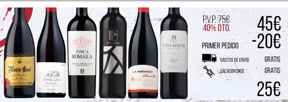Super Pack! 6 botellas de vino seleccion + sacacorchos solo 25€ con envio Gratis