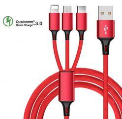 OFERTITA! Cable USB 3en1: Type C, Micro USB y Lightning a 1,9€