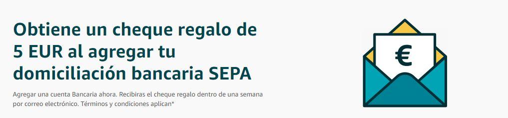 5 euros GRATIS! en Amazon al añadir tu cuenta bancaria SEPA