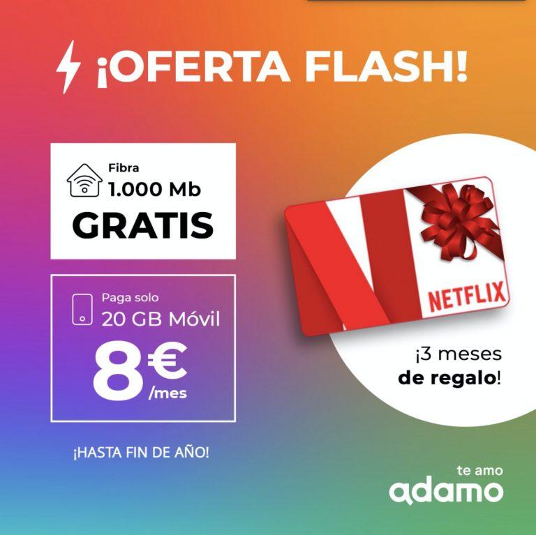MEGA PROMO ADAMO! Fibra 1.000 Mb GRATIS + 20GB de móvil por 8€ + 3 meses GRATIS Netflix