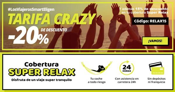 Tarifa Crazy en Goldcar -20% en alquiler de coche + 15% en cobertura y conductor adicional GRATIS