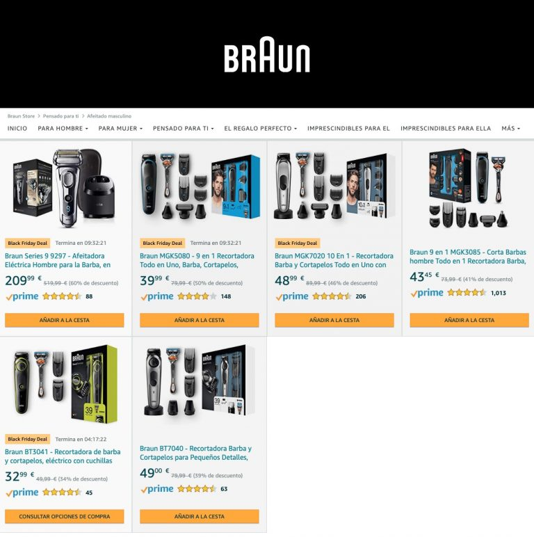 ¡Mínimos! Afeitadoras y recortadoras Braun con hasta 60% de descuento en Amazon